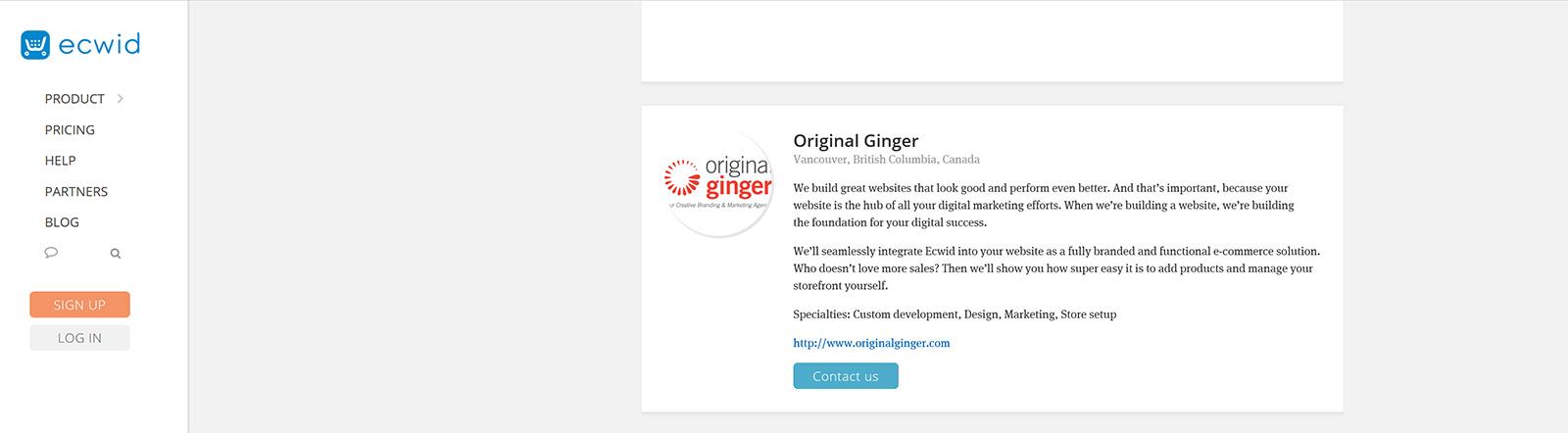 Go To Ecwid Shopping Cart Integration Experts | Original Ginger